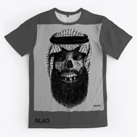 Skull With A Beard    Art With Details Charcoal T-Shirt Front