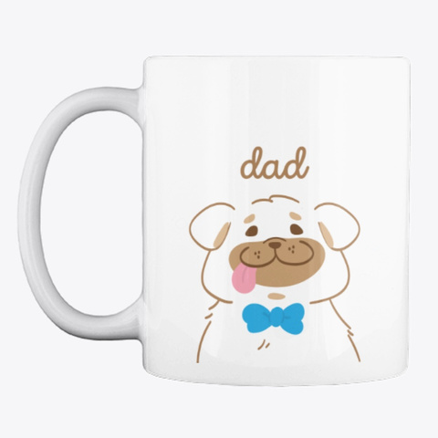 Pug Dad Charming Pastel Art White T-Shirt Front