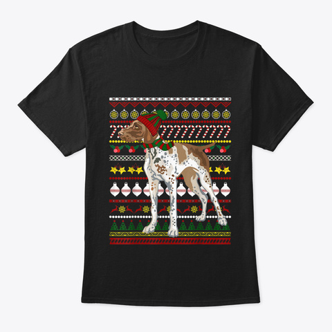 Pointer Santa Claus Ugly Sweater Dog Gif Black T-Shirt Front