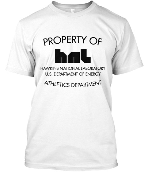 Hawkins National Lab. Ath. Dept. White T-Shirt Front