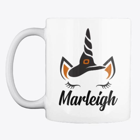 Marleigh Unicorn Face Halloween Mug White T-Shirt Front