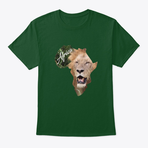 Africa With Lion Fill Deep Forest T-Shirt Front