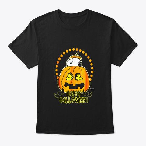 Peanuts Happy Halloween Pumpkin Black T-Shirt Front