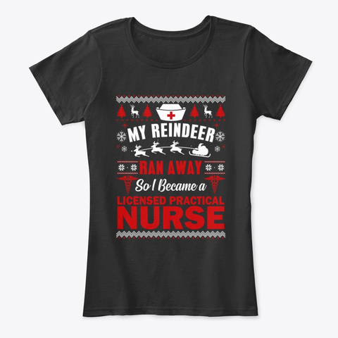 Licensed Practical Nurse Ugly Christmas Black T-Shirt Front