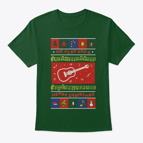 Acoustic Guitar Ugly Christmas Deep Forest T-Shirt Front
