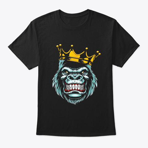 Gorilla King Ferocious Gorilla On With Black T-Shirt Front