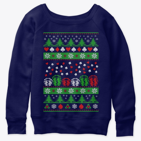 Poker Ugly Christmas Casino T Shirt 2020 Navy  T-Shirt Front