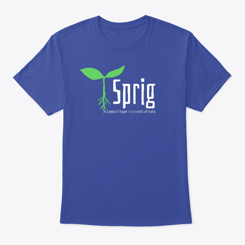 Sprig Tagline Deep Royal T-Shirt Front