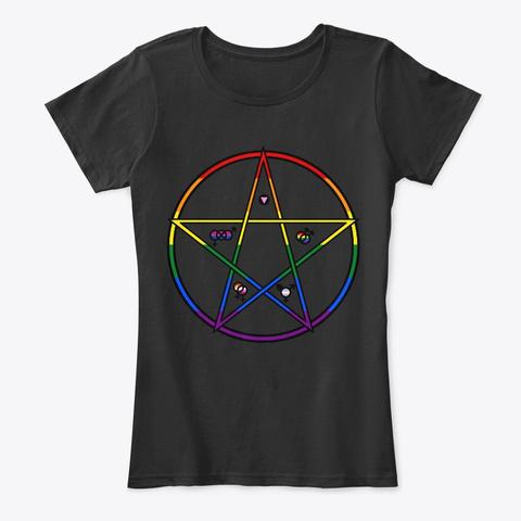 Queer Pentagram Black T-Shirt Front