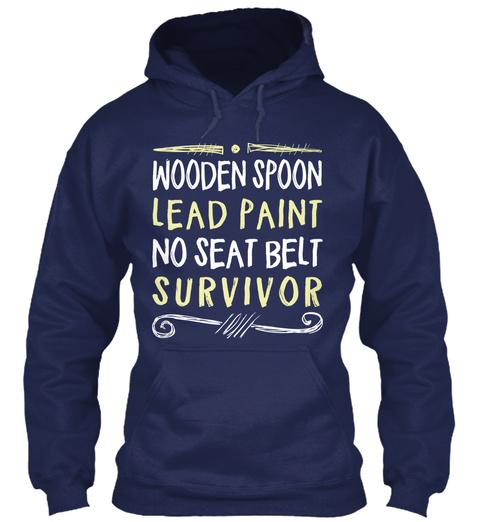 Wooden Spoon Lead Paint No Seat Belt Survivor Navy T-Shirt Front