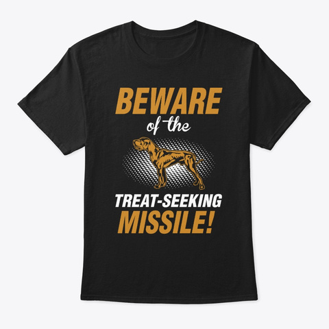 Treat Seeking Missile Great Dane Black T-Shirt Front