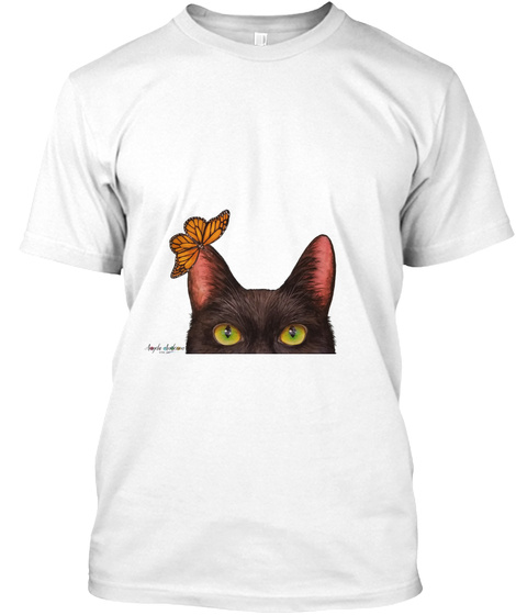 Black Cat W/ Monarch Butterfly Shirt White T-Shirt Front