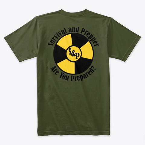 Survival And Prepper Logo Military Green T-Shirt Back