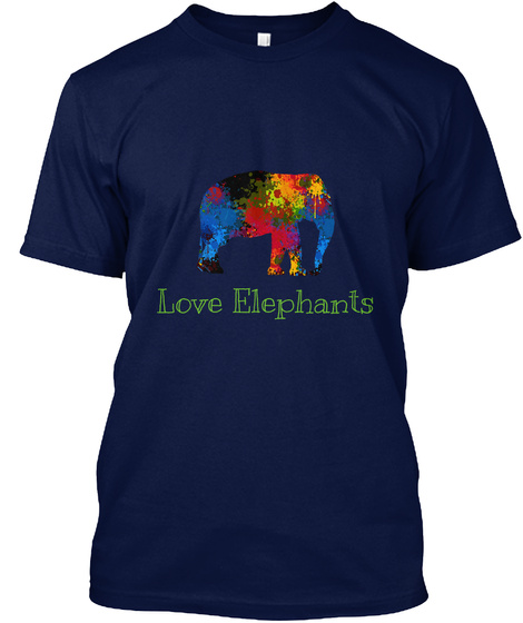 Love Elephants Navy T-Shirt Front