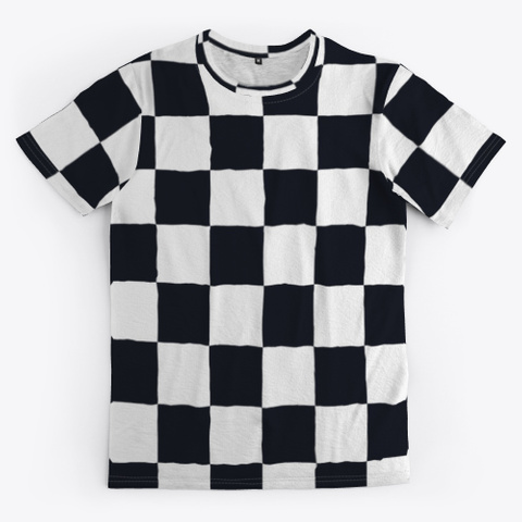 Black White Checker Board Check Pattern Standard T-Shirt Front