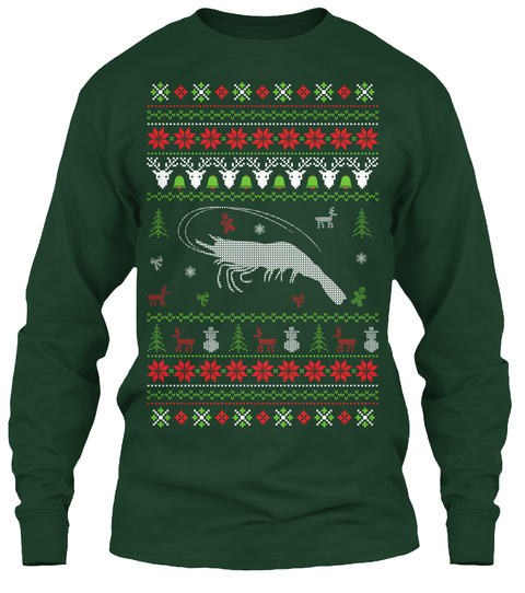 Shrimp   Ugly Christmas Sweater Forest Green T-Shirt Front