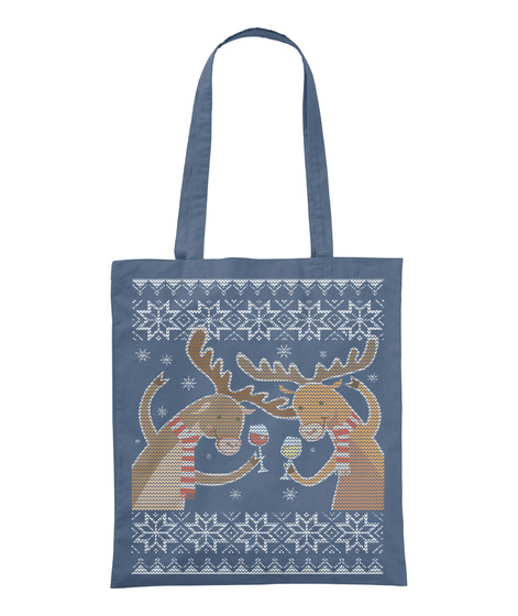 Funny Christmas Reindeer  Tote Bags Graphite Tote Bag Front