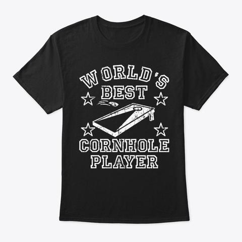 Cornhole Worlds Best Retro Bean Bag Cham Black T-Shirt Front