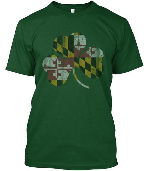 Irish Maryland Flag Shamrock St Patricks Deep Forest T-Shirt Front