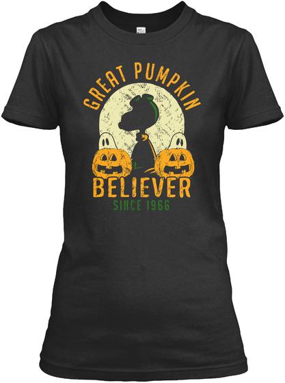 Great Pumpkin Believer Since 1966 Black T-Shirt Front