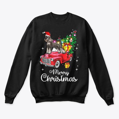 Schnauzer Christmas Sweater Shirt Black T-Shirt Front