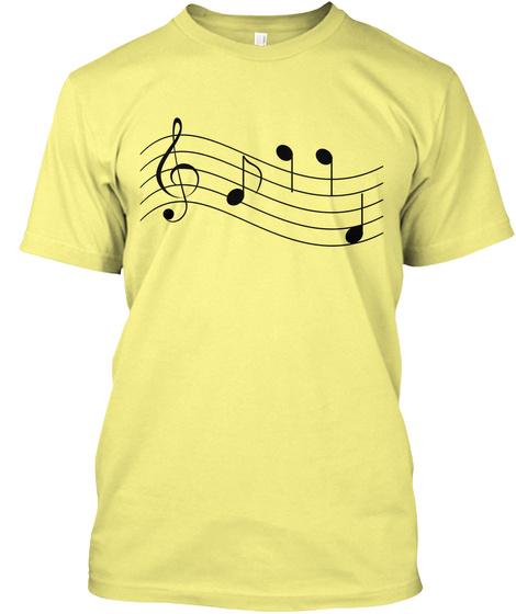 T Shirt Musical Notes Staff Treble Clef Lemon Yellow  T-Shirt Front