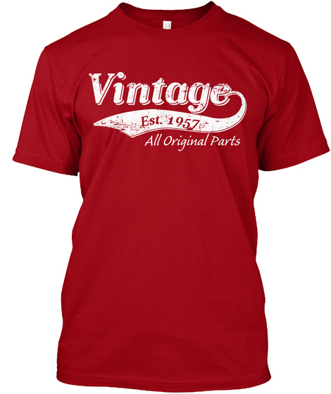 Vintage Est.1957 All Original Parts Deep Red T-Shirt Front