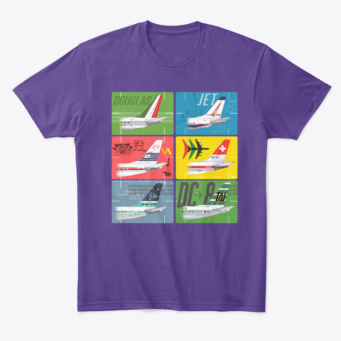 Jet Age Travel Purple T-Shirt Front