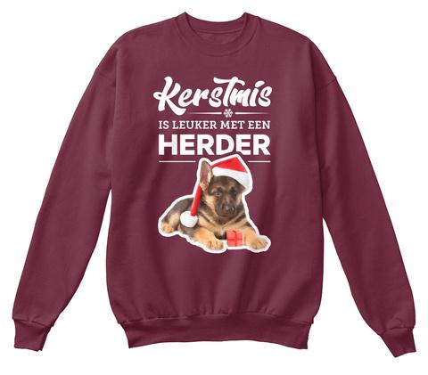 Kerstmis Is Leuker Met Een Herder Burgundy T-Shirt Front