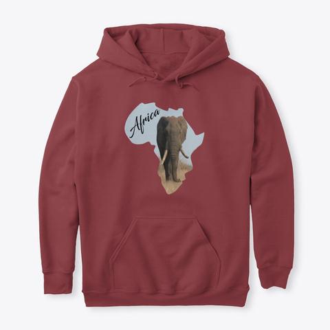 Africa & Bull Elephant Maroon T-Shirt Front