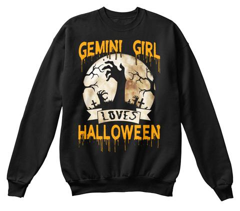 Gemini Girl Loves Halloween Zombie Black T-Shirt Front