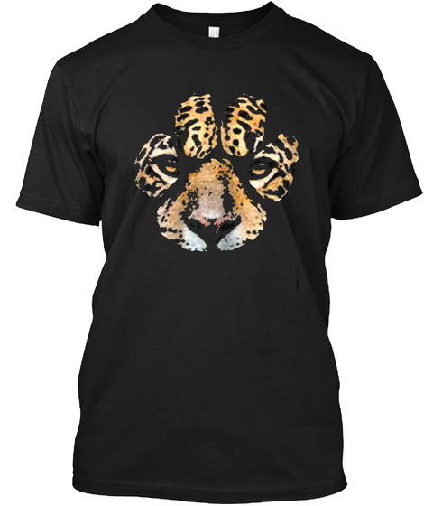Awesome Jaguar Paw Print T Shirt   Mens  Black T-Shirt Front