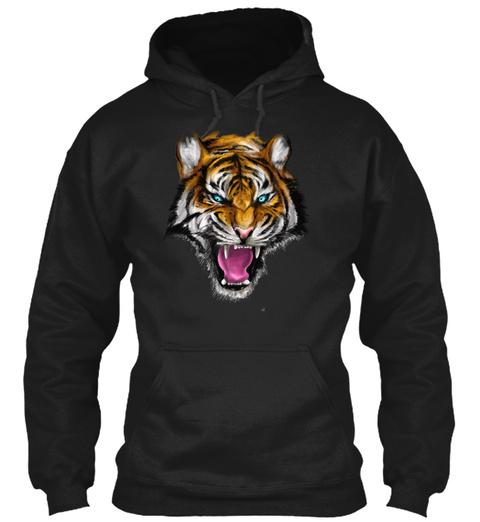 Ferocious Tiger T Shirt By Opawapo Desig Black T-Shirt Front