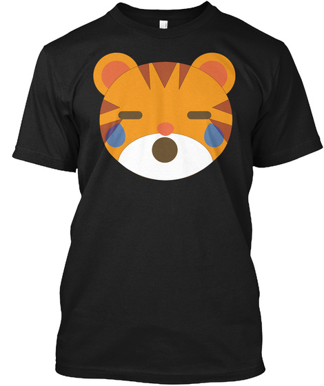 Tiger Emoji Teary Eyes And Sad Look Black T-Shirt Front