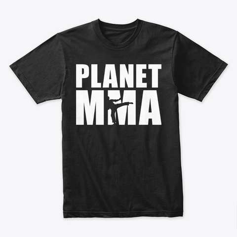 Planet Mma Stacked Logo White Black T-Shirt Front