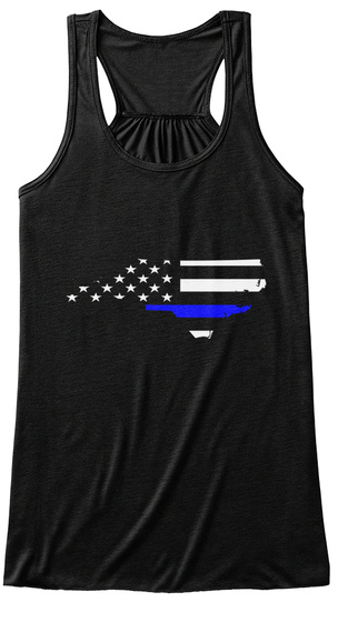 North Carolina Thin Blue Line! Black T-Shirt Front