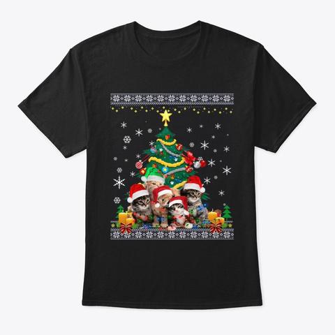 Cat Christmas Funny Shirt Meowy Christma Black T-Shirt Front