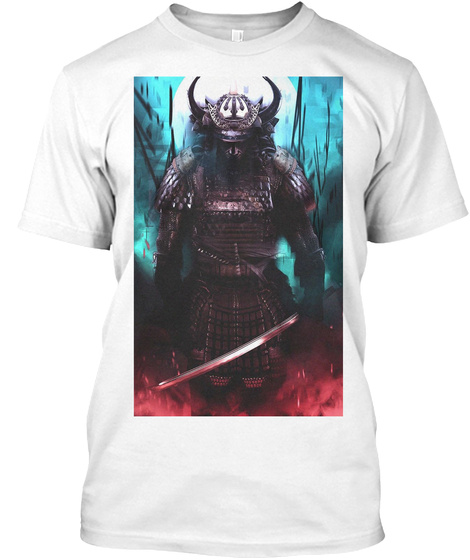Fire And Ice Samurai White T-Shirt Front