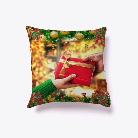 A Christmas Gift   Holiday Throw Pillow Dark Red T-Shirt Front