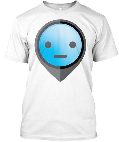 Pointer Emoji Straight Face White T-Shirt Front