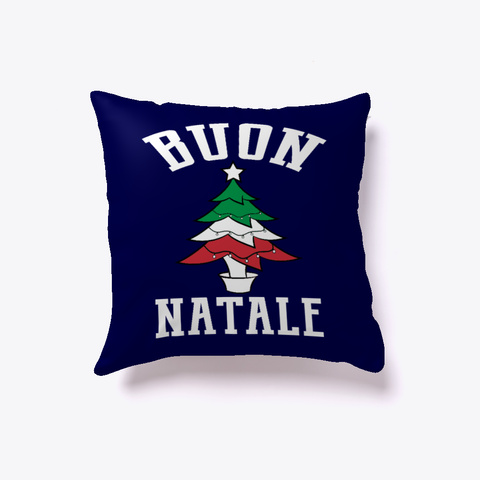 Buon Natale Flag Tree Pillow  Dark Navy T-Shirt Front