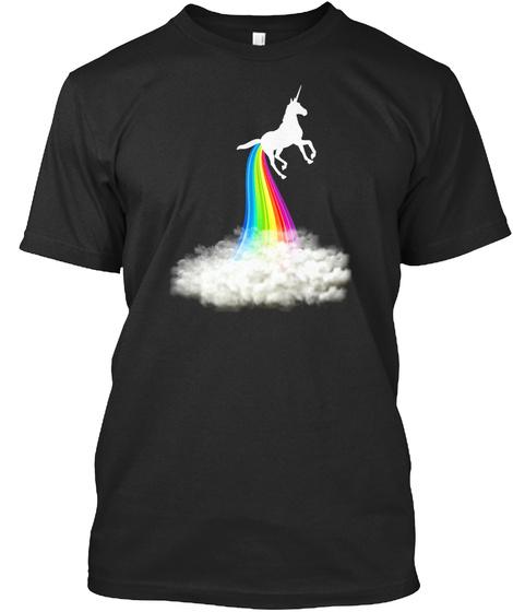 Unicorn Pooping Rainbow T Shirt Funny Un Black T-Shirt Front