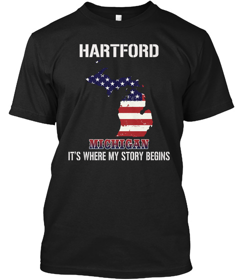 Hartford Mi   Story Begins Black T-Shirt Front