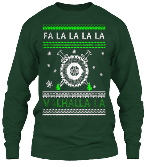 Viking Christmas Forest Green T-Shirt Front