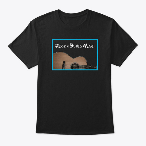 Acoustic Guitar With Logo Black T-Shirt Front