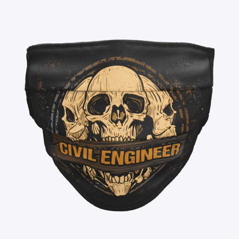 Awesome Civil Engineer Mask Black T-Shirt Front
