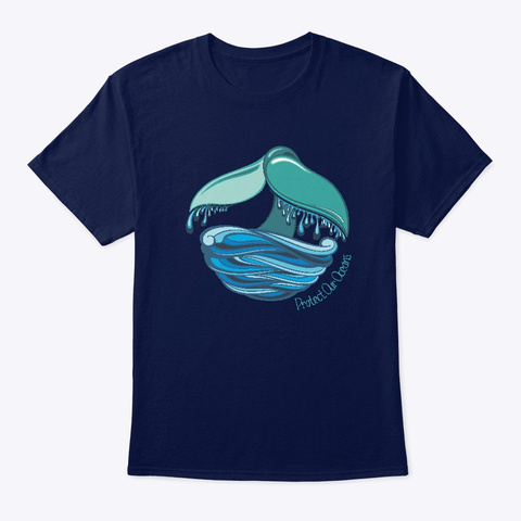 Whale Tail   Protect Our Oceans Navy T-Shirt Front