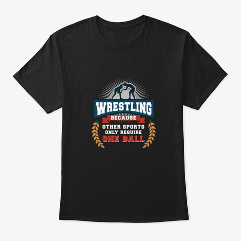 Wrestling One Ball Black T-Shirt Front