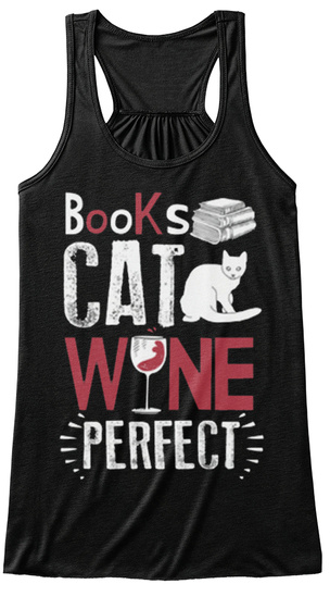 Books Cat Wine Perfect Black Women's Tank Top Front