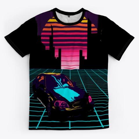 Nthefastlane 80's Retro Futuristic City Black T-Shirt Front